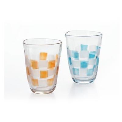 【ADERIA】日本進口啤酒專用格紋玻璃對杯290ml
