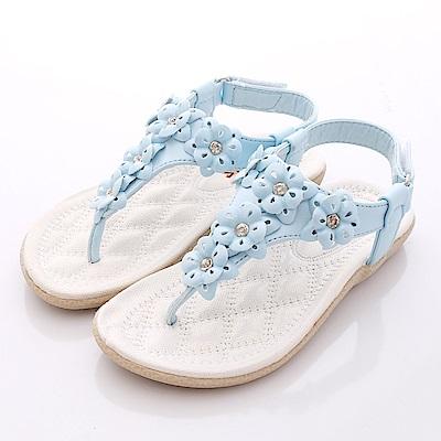 日本娃娃-立體花朵涼鞋款-TW621藍-中小童段