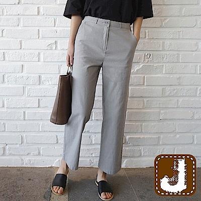 正韓 簡單俐落百搭棉質直管褲-(灰色)100%Korea Jeans