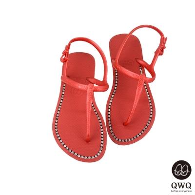 QWQ夾拖的創意(女) - 璀璨面鑽涼鞋-搖滾紅