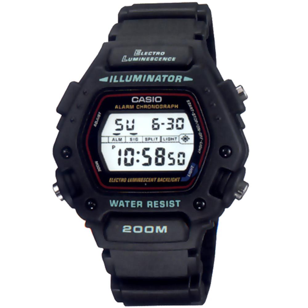 CASIO 全方位電子黑戰將運動錶(DW-290-1)/49mm