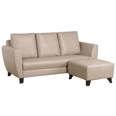 品家居 苗可亞麻皮質L型沙發(三人+凳)兩色可選