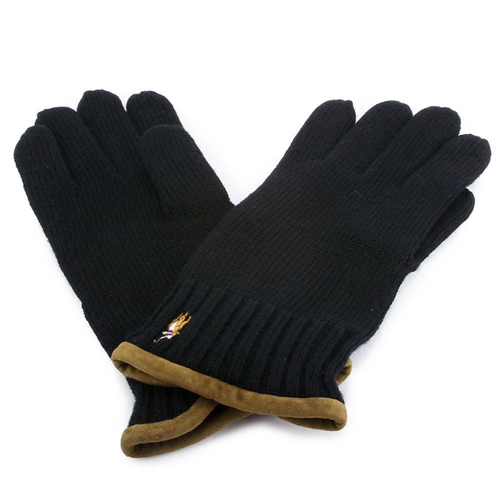 RALPH LAUREN POLO 麂皮飾邊小馬刺繡LOGO羊毛手套-黑色