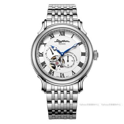RHYTHM日本麗聲 尊爵復古鏤空自動機械腕錶(A1508S01)-白色/52mm