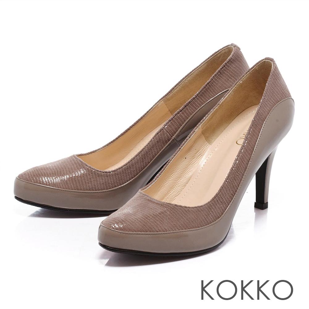 KOKKO經典手工-尖頭真皮拼接高跟鞋- 駝