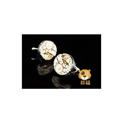 拉福 機械高檔袖扣(銀黃色系)