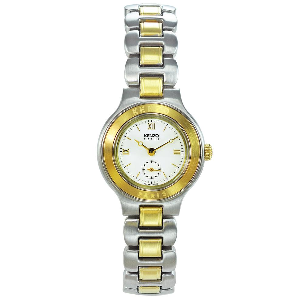 KENZO 經典知性時尚腕錶-米白色/26mm(福利品)