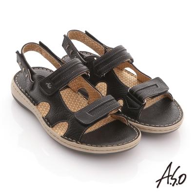 A.S.O 3D奈米系列 全真皮自黏帶氣墊涼鞋 黑