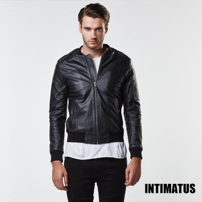 秋冬新款 真皮皮衣 簡約俐落飛行夾克小羊皮皮衣 帥氣黑色-INTIMATUS