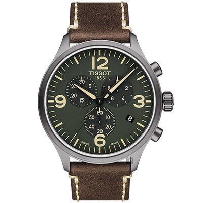 TISSOT天梭 韻馳系列 Chrono XL計時手錶-綠x咖啡/45mm