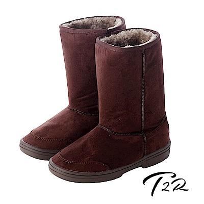 【韓國T2R】秋冬韓系女孩必備經典款內裡毛茸茸雪靴增高7cm 咖啡