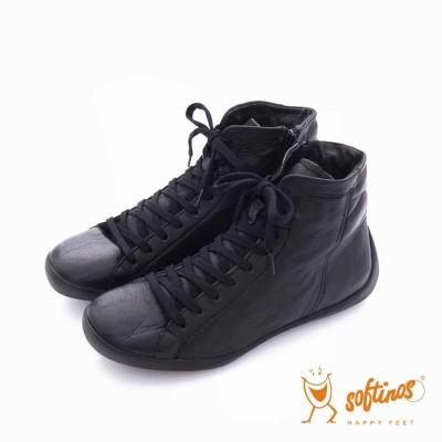 Softinos(女)  HAPPY FEET 多層次綁帶拉鏈中筒休閒鞋- 個性黑