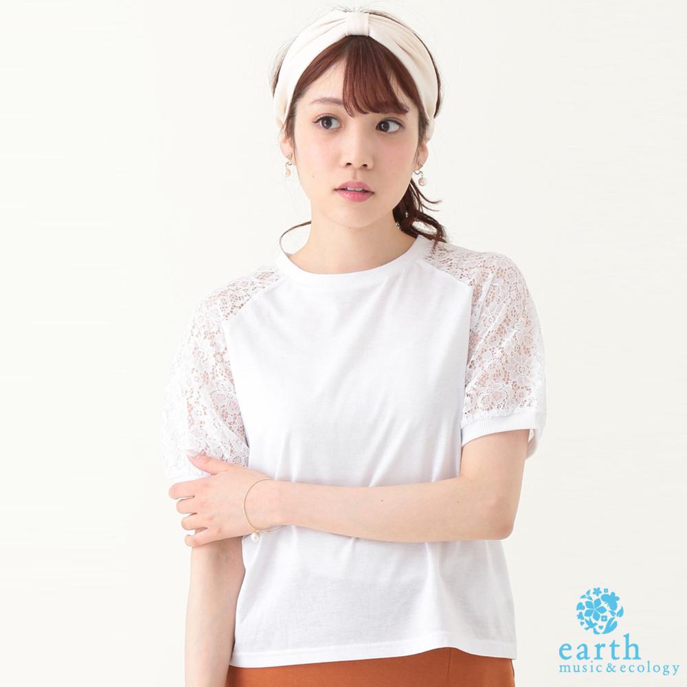 earth music&ecology 花朵蕾絲透膚袖拼接上衣