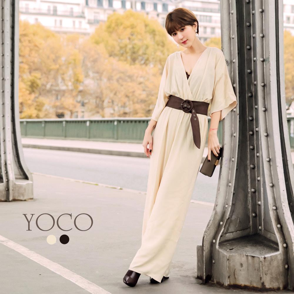 東京著衣-yoco 安琪聯名法式優雅交叉深V連身褲裝-XS.S.M.L(共二色)