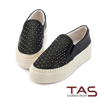 TAS 十字沖孔水鑽牛皮厚底休閒鞋-實搭黑