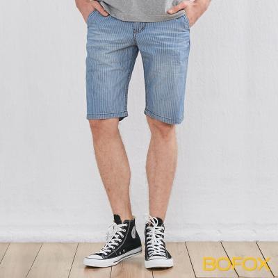 BOFOX 仿牛仔刷色休閒短褲-藍