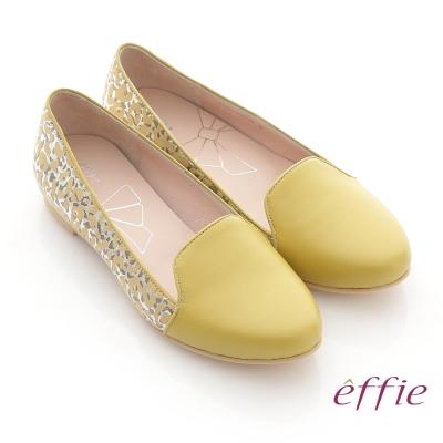 effie-夏日渡假-全真皮金箔豹紋壓紋樂福鞋-黃