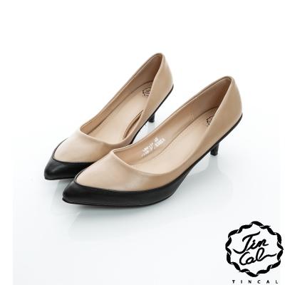 TINCAL-經典名伶-優雅氣質雙色皮革低跟鞋-黑色