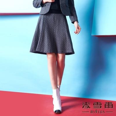 麥雪爾 素面織紋羊毛短裙