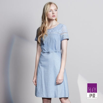 ILEY伊蕾 縷空圖騰蕾絲繫帶洋裝(藍)