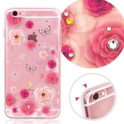 YOURS APPLE iPhone 6s+ 奧地利水晶彩繪防摔貼鑽手機殼-粉薔...