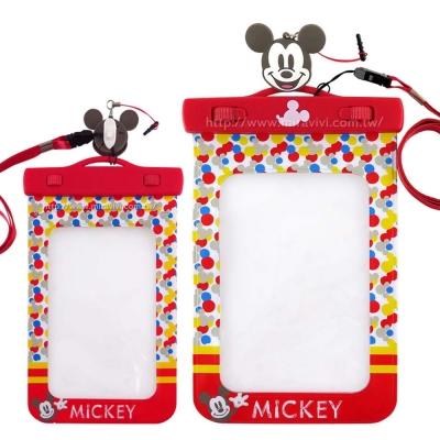 Disney迪士尼6吋通用可愛繽紛手機防水袋(附夾子捲線器耳機塞)-米奇