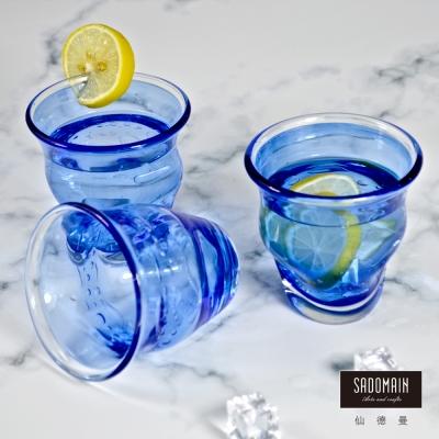 仙德曼SADOMAIN  彩玻曲線杯(深藍)3入組