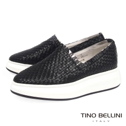 Tino Bellini 品味潮流編織厚底休閒鞋_黑