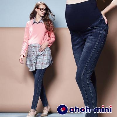 ohoh-mini-孕婦裝-修身曲線造型刷色孕婦長褲-深藍