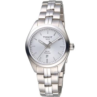 TISSOT天梭 PR 100簡約經典鈦金屬女腕錶(T1012104403100)