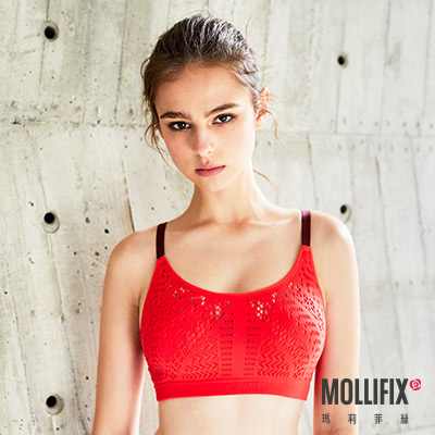Mollifix 瑪莉菲絲 高調A++輕盈呼吸BRA (撞色磚紅+褐)