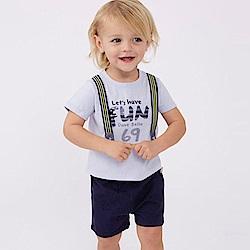 Dave Bella 藍色假兩件吊帶上衣+藍色短褲套裝2件組