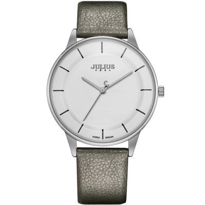 JULIUS聚利時 城市森林內凹錶盤設計真皮腕錶-銀色/39mm