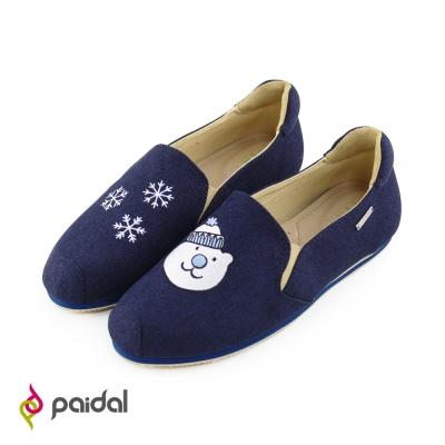 Paidal雪花毛帽熊休閒鞋樂福鞋懶人鞋-深藍