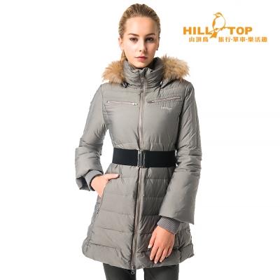 【hilltop山頂鳥】女款超撥水蓄熱羽絨長大衣F21F74灰