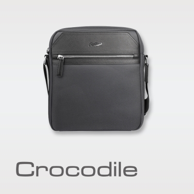 Crocodile Wind 2.0系列布配皮直式斜背包 0104-08002