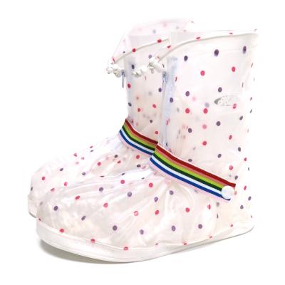 防水 雨鞋套 -短筒 小圓點 縮口 綁帶款-急速配