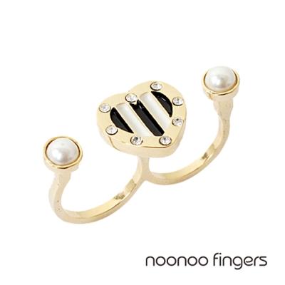 Noonoo Fingers Stripe Pearl Ring 愛心條紋雙珍珠 戒指
