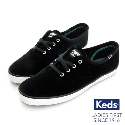 Keds CHAMPION 華麗氣質綁帶休閒鞋-天鵝絨黑