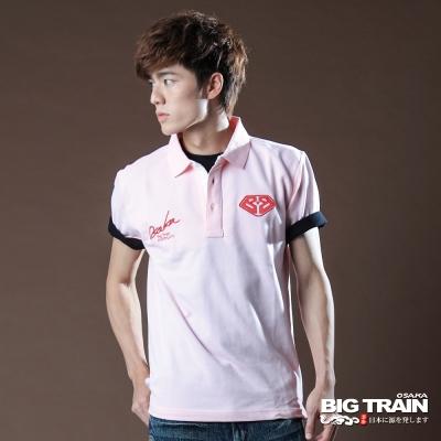 BIG TRAIN-立體繡字POLO衫-粉紅