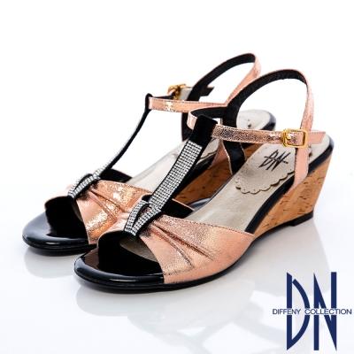 DN-頂級MIT-柔軟羊皮T字水鑽繫踝楔型涼鞋-金