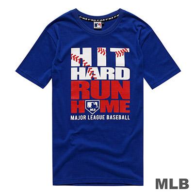 MLB-美國職棒立體印花短T-藍 (男)
