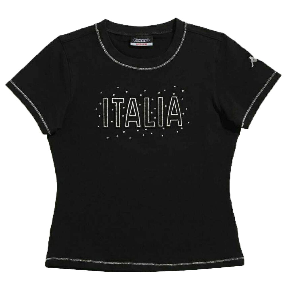 KAPPA義大利舒適女吸濕排汗彈力棉彩色圓領衫 黑