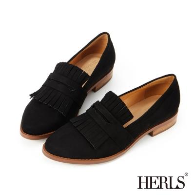 HERLS-內真皮-英倫品味麂皮絨流蘇樂福鞋-黑色