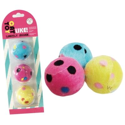 寵喵樂《逗貓玩具-點點絨布球》3入/一組(LWT-88139)