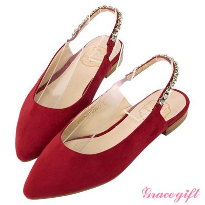 Grace gift-鑽鍊後鬆緊繫帶尖頭平底鞋 紅