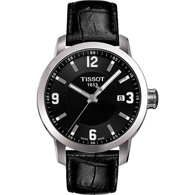 TISSOT PRC200 系列都會石英皮帶腕錶~黑 39mm