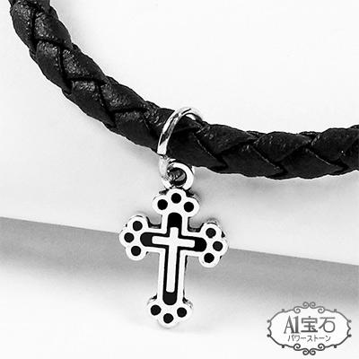 A1寶石  十字架-Endless混搭元素-仿真皮繩編織手鍊(含開光)