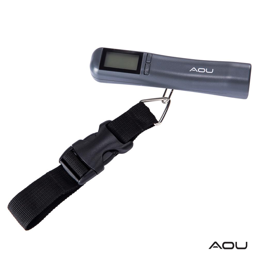 AOU 多功能日本YKK扣具行李秤 攜帶式手提行李電子秤(時尚灰)66-027