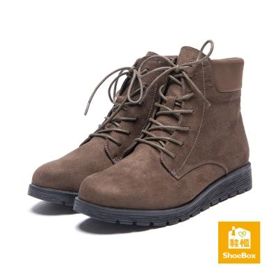 鞋櫃ShoeBox-短靴-布面綁帶平底短靴-橄欖綠